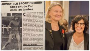 Un article sur Juvisy dans le Républicain de L'Essonne en 1980 (à gauche) et Annie Fortems avec Myriam El Khomri pour la remise de la Légion d'Honneur (à droite).