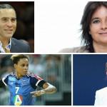 Parmi les Égéries du sport féminin : Richard Dacoury (en haut à gauche), Nathalie Sonnac (en haut à droite), Allison Pineau (en bas à gauche) et Frédérique Jossinet (en bas à droite).