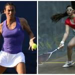 Francesca Schiavone (à gauche) a remporté le tournoi de Bogota où elle n'a perdu aucun set et l'Égyptienne Nour El Sherbini (à droite) a été sacrée championne du monde de squash pour la deuxième fois consécutive.