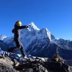 Elisabeth Revol, en entrainement trail au Népal, vallée du Khumbu © Elisabeth Revol - Valandré