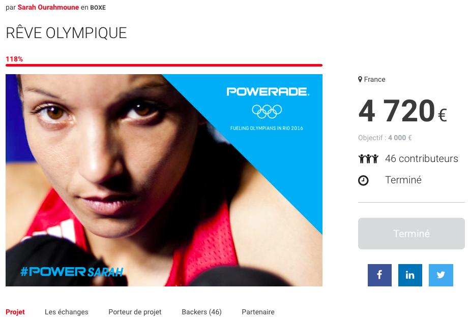 """Capture d'écran du projet """"Rêve Olympique"""" déposé par Sarah Ourahmoune sur la plateforme Sponsorise.me quelques mois avant les Jeux de Rio."""