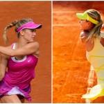 Eugénie Bouchard (à gauche) et Maria Sharapova (à droite) vont jouer l'une contre l'autre au deuxième tour du tournoi WTA de Madrid.