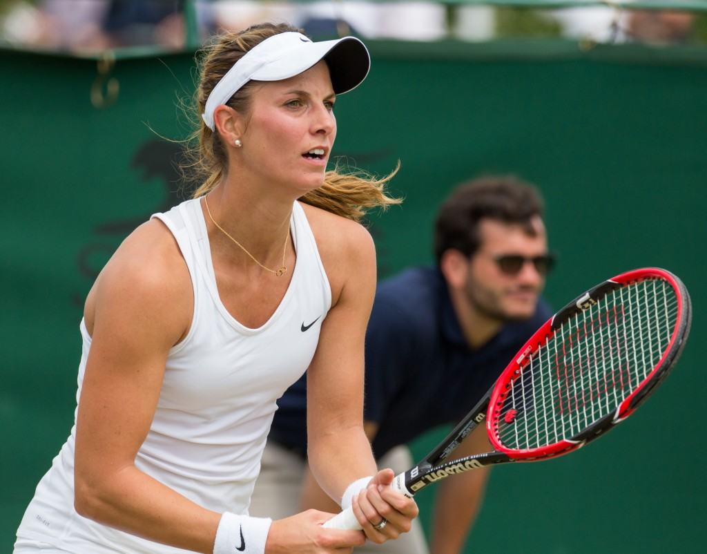 Mandy Minella enceinte de 4 mois et demi à Wimbledon