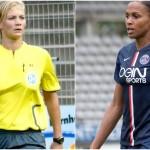 Dimanche, Bibiana Steinhaus (à gauche) est devenue la première femme arbitre dans un championnat professionnel européen tandis que les joueuses du Paris Saint-Germain ont été chassées de leur stade pour laisser place aux sélections masculines.