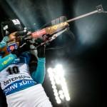 OSTERSUND, SWEDEN ñ DECEMBER 1, 2017: France's biathlete Justine Braisaz competes to finish second in the womenís 7.5km sprint competition at a 2017/2018 IBU Biathlon World Cup meet in Ostersund
