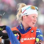 Les Françaises, emmenées par Marie Dorin (ci-dessus) ont terminé 3èmes du relais dames d'Hochfilzen ce week-end mais n'ont fait aucun résultat en individuel...