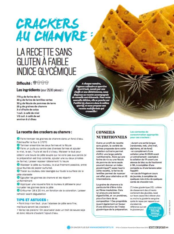 crackers à base de graine de chanvre