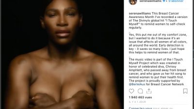 Topless et a cappella, Serena Williams s'engage contre le cancer du sein