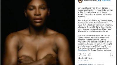 Topless et a cappella, Serena Williams s'engage contre le cancer du sein