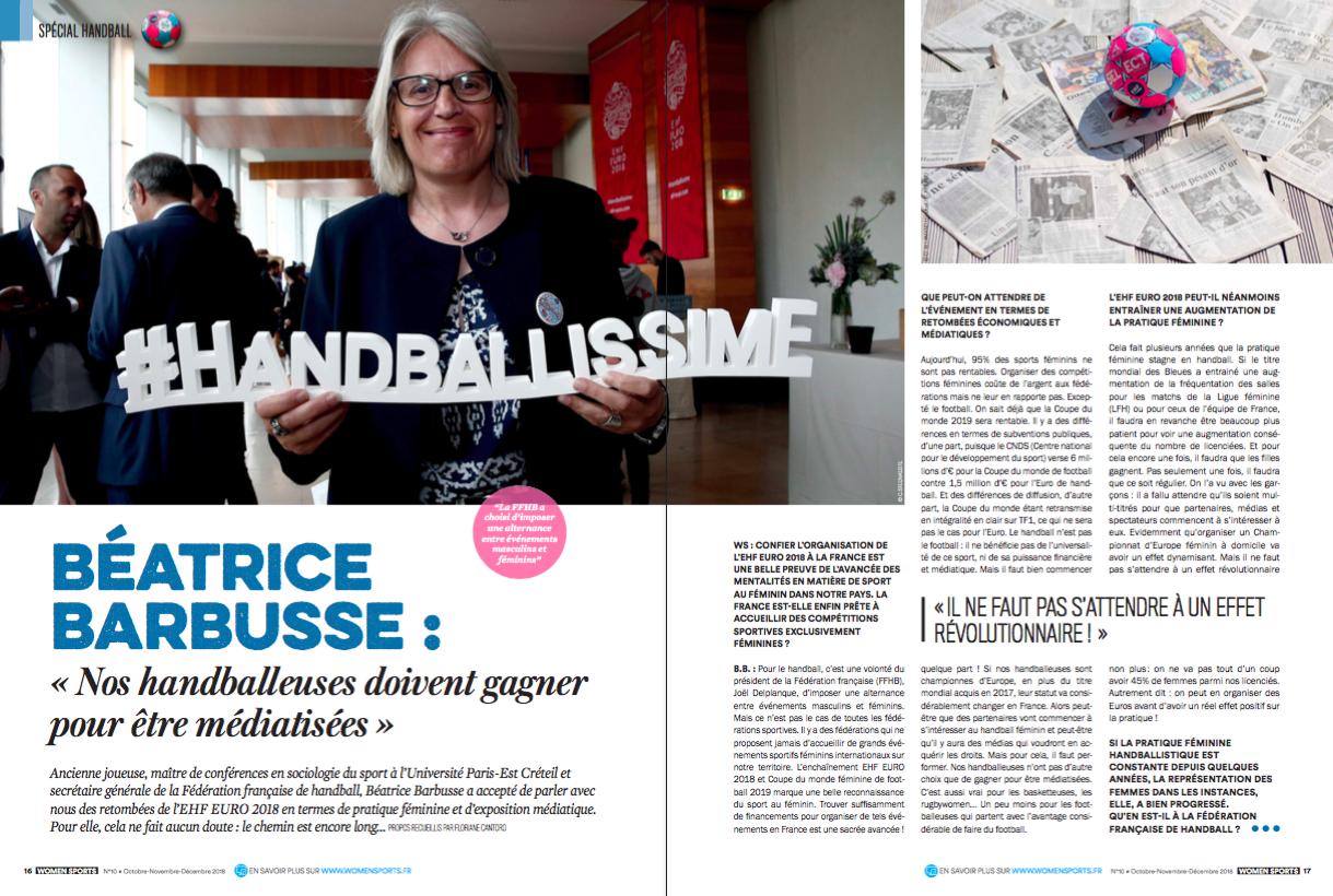 Béatrice Barbusse a accepté de parler avec nous des éventuelles retombées de l'EUF EURO 2018 en termes de pratique féminin du handball et d'exposition médiatique.