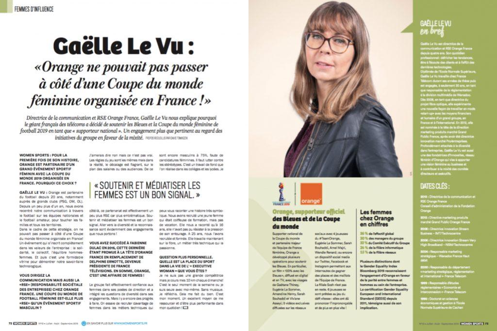 Directrice de la communication et RSE Orange France, Gaëlle Le Vu nous explique pourquoi le géant français des télécoms a décidé de soutenir les Bleues et la Coupe du monde féminine de football 2019 en tant que «supporter national».