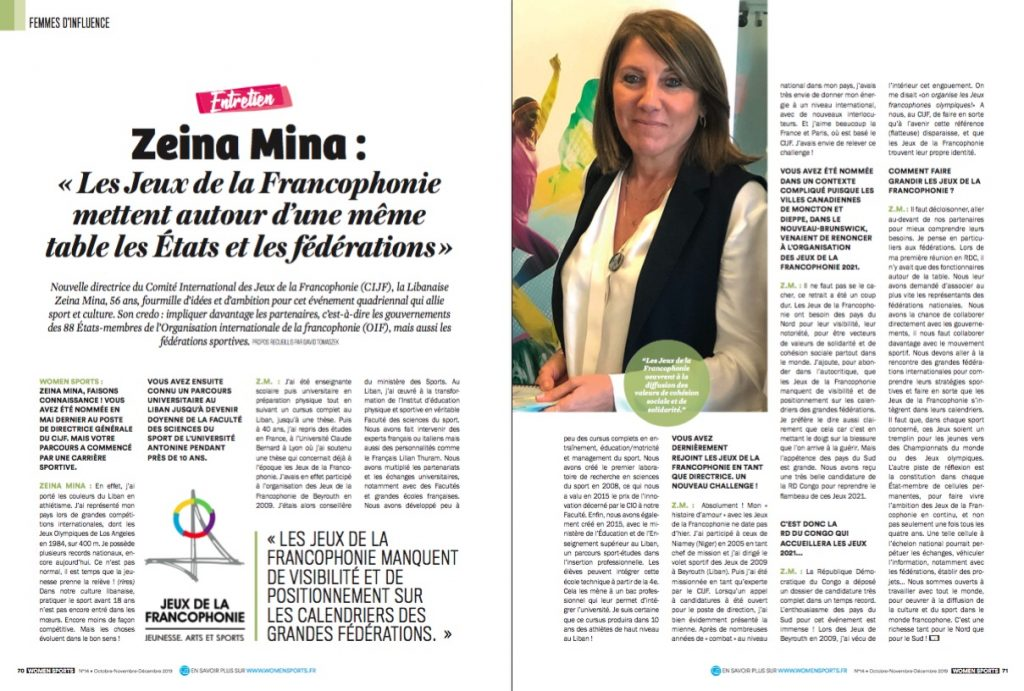Nouvelle directrice du Comité International des Jeux de la Francophonie (CIJF), Zeina Mina fourmille d'idées pour cet événement qui allie sport et culture.