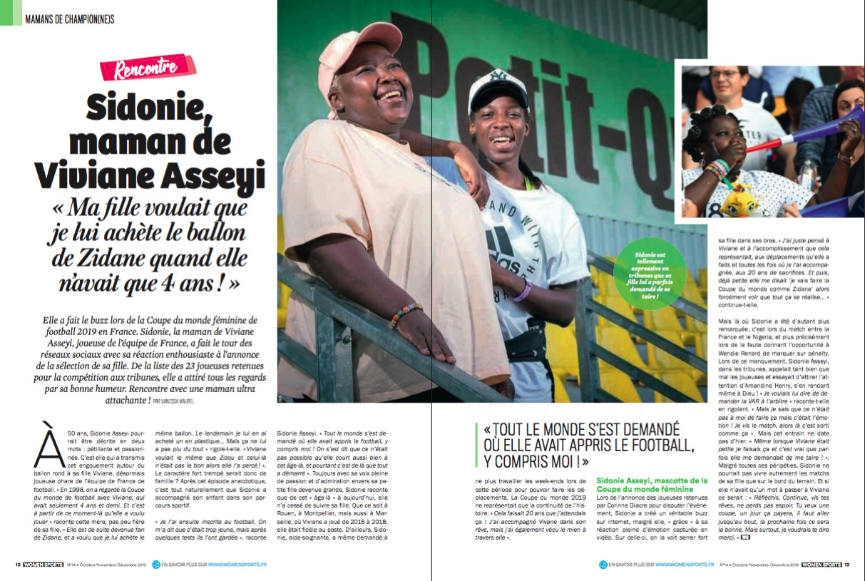 Nouvelle série exclusive Women Sports : portraits de mamans de champion(ne)s. On poursuit la rubrique avec Sidonie, la maman de Viviane Asseyi (football).