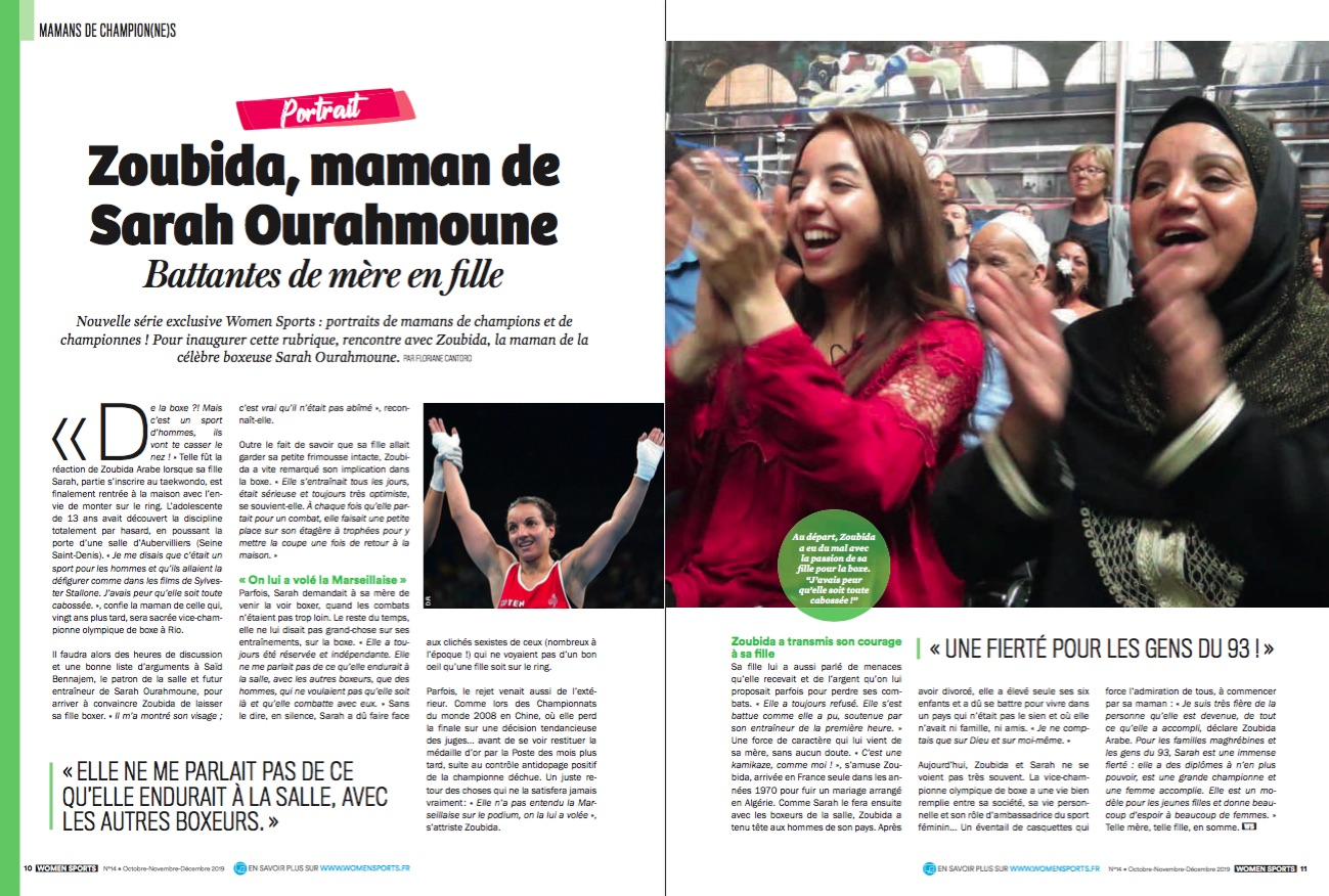 Nouvelle série exclusive Women Sports : portraits de mamans de champion(ne)s. On inaugure la rubrique avec Zoubida, la maman de la boxeuse Sarah Ourahmoune.