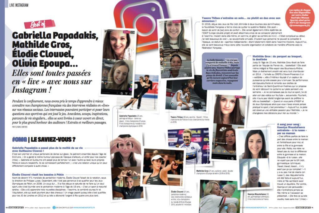 Pendant le confinement, nous avons réalisé des interviews de championnes françaises en «live» sur nos réseaux sociaux, notamment Instagram. Best-of !