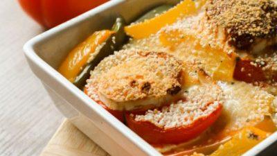 Food : recette été healthy de gratin de poivrons, tomates, chèvre