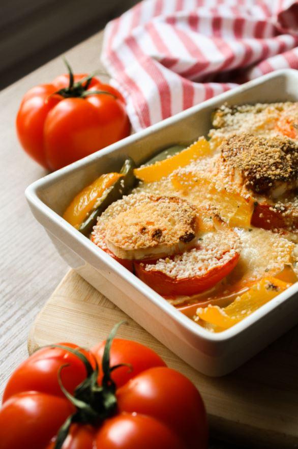 Recette healthy de gratin de poivrons, tomates, chèvre