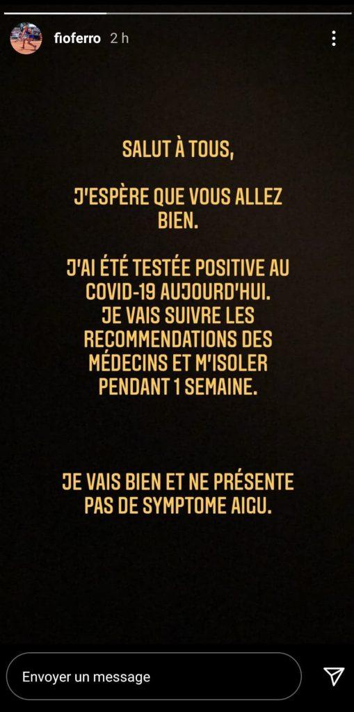 La Française Fiona Ferro a annoncé mardi sur son compte Instagram avoir été testée positive au coronavirus mais ne présente pas de symptômes.