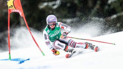 Tessa Worley heureuse après sa deuxième place sur le géant de Kranjska Gora